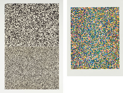 Tauba Auerbach, '50/50, Zoom In/Zoom Out; and and A Half Times A Half Times A Half (Coarse)', 2008