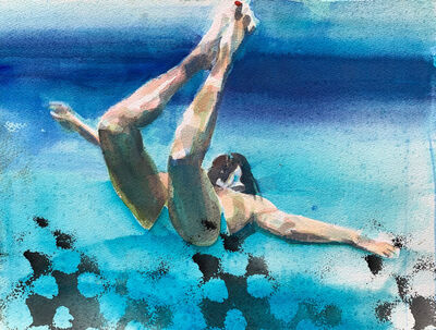 """Carol Bennett, '""""Lift Study II"""" watercolor painting of a woman in a blue swimsuit swimming underwater', 2020"""