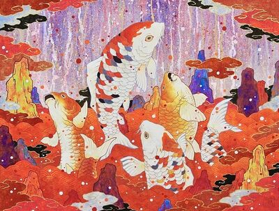 Koki Tsujimoto, 'Auspicious Red and White Dancing Carp', 2019