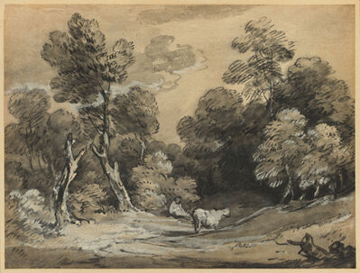 Thomas Gainsborough, 'Wooded Landscape with Herdsman and Cow', early 1780s