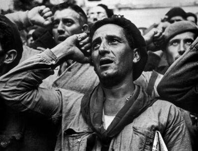Robert Capa, 'Farewell ceremony for the International Brigades. Les Masies. Spain.', 1938