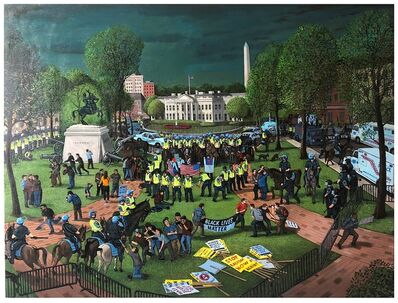 Sandow Birk, 'Rally in Lafayette Square (Aug. 12, 2018)', 2019