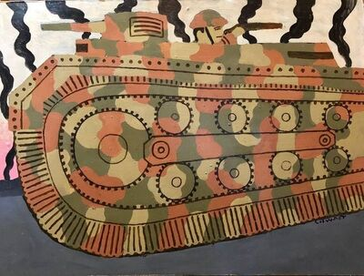 Seymour Chwast, 'Large Oil Painting Of Cartoony Camouflage Tank in Illustration Style', 20th Century