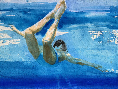 """Carol Bennett, '""""Lift Study I"""" watercolor painting of a woman in a blue swimsuit swimming underwater', 2020"""