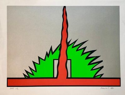 Nicholas Krushenick, '1980 Large Pop Art Silkscreen Abstract Op Art Jagged Edge Bright Color Serigraph', 1980-1989
