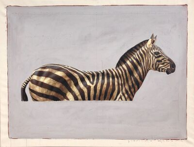 "Santiago Garcia, '""#57"" side portrait of black and white zebra on grey background', 2010-2017"