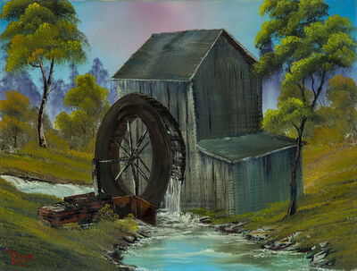 Bob Ross, 'Bob Ross Signed The Old Water Mill Contemporary Art Painting', 1970-1990