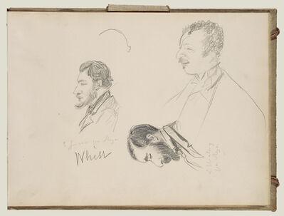 Edgar Degas, 'Sketches of Men in Profile', 1877