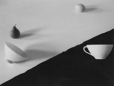 Jed Devine, 'Pear, Lemon, and Two Cups on Black and White Paper'