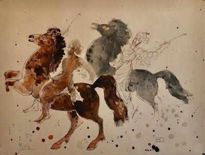 Reuven Rubin, 'Modern Israeli Lithograph Reuven Rubin Views Of Israel Judaica Horses, Riders', 1960-1969