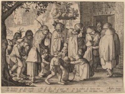 Claes Jansz Visscher, 'Procession of Feasting Lepers', 1608