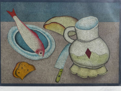 Mihail Chemiakin, 'Still Life with Fish, Bread and Knife', ca. 1978
