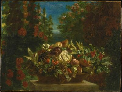 Eugène Delacroix, 'A Basket of Fruit in a Flower Garden', 1848-1849