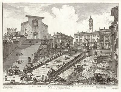 Giovanni Battista Piranesi, 'Veduta del Romano Campidoglio con Scalinata che va alla Chiesa d'Araceli', 1775