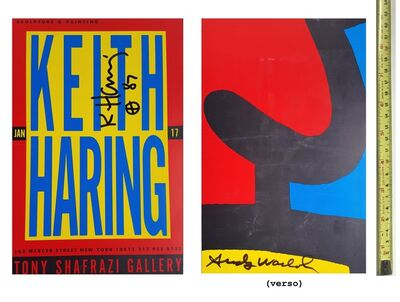 "Keith Haring, '""Keith Haring & Andy Warhol"", 1987, RARE Signed by Both Haring & Warhol, Exhibition Invitation, Shafrazi Gallery NYC, UNIQUE', 1987"