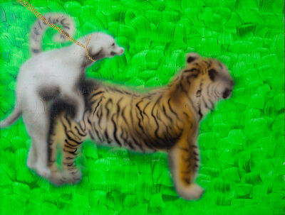 Youada, 'When a tiger comes down to ZhuanTang, it is ridden by a white dog', 2020