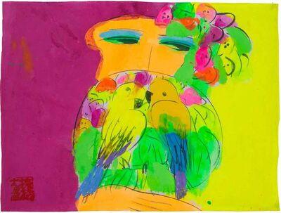Walasse Ting 丁雄泉, 'Purple Hair, Parrot Fan', 1990-2000