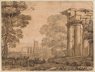 Claude Lorrain, 'Landscape with Ruins, Pastoral Figures, and Trees', ca. 1650