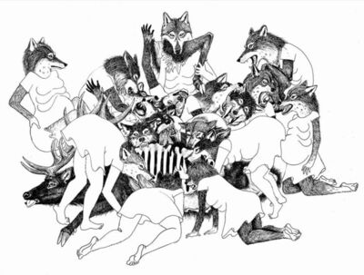 Julia Oldham, 'She Wolves Play Together to Practice Hunting Techniques', 2017