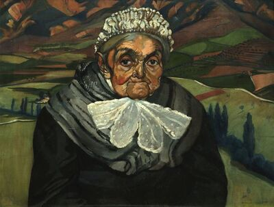 Beatrice M L Huntington, 'Old woman in a hilly landscape'