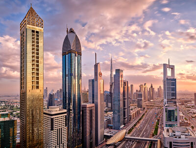Andrew Prokos, 'Sheikh Zayed Road Towers at Sunset - Long Exposure', 2020