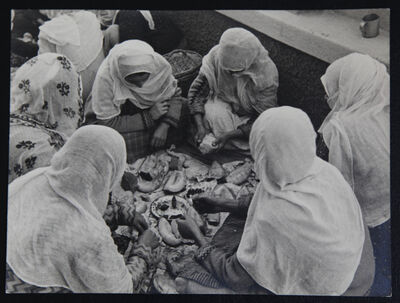 Alfred Eisenstaedt, 'Anatolian women taking a typical lunch break in Smyra. White bread, olives and melon.', 1934