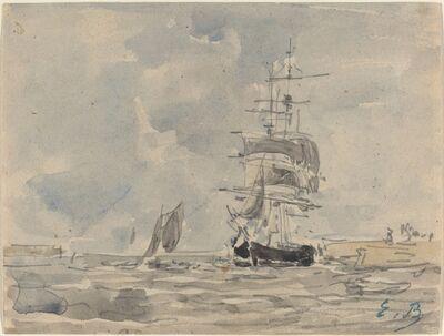 Eugène Boudin, 'Seascape with Sailing Vessel', ca. 1875