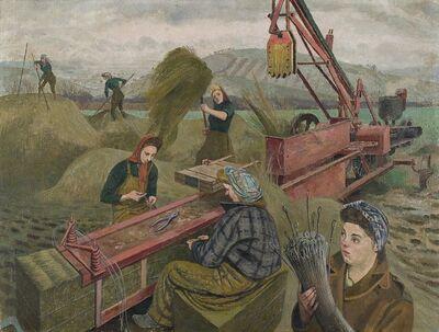 Evelyn Dunbar, 'Baling Hay', 1940