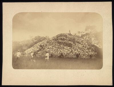 Augustus Le Plongeon, '[Man standing on top of the mound at Mayapan]', 1873-1916