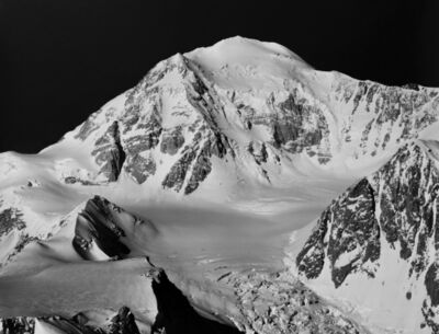 Bradford Washburn, 'Southeast face of summit cone of South Peak of Mount McKinley seen across upper icefall of west fork of Traleika Glacier', 1949