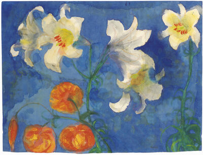 Emil Nolde, 'White Lilies and Red Blossoms against a Blue Background', 1945-1950