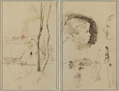 Paul Gauguin, 'Landscape with a Cottage; Profile of Boy, Profile of Man, Two Women in a Landscape, and Five Other Studies [verso]', 1884-1888