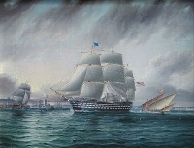 James E. Buttersworth, 'American Three Decker off Belem Castle'