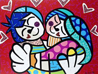 Romero Britto, 'Love Me Tender | hand embellished', 2019