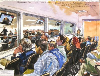 Steve Mumford, '2/5/13, Pretrial hearing for Abd al Rahim al Nashiri watched by NGO observers & media, Audio + Video on 40 second delay, Guantanamo Bay, Cuba', 2013