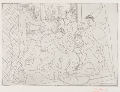Pablo Picasso, 'Dying Horse Surrounded by a Family of Acrobats', 1931