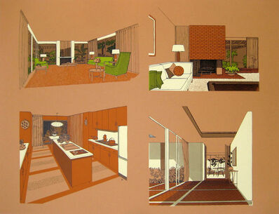 Carlos Diniz, 'Monarch Bay Homes, Four Interior Details (Ladd and Kelsey, Architects) (orange)', 1961