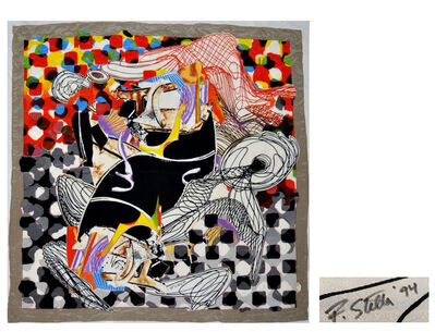 "Frank Stella, '""The Whale Watch"", Silk Crepe de Shawl/Scarf, SIGNED/Dated Edition 230 of 650, LARGE 54 x 54 in.', 1993"