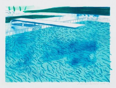 David Hockney, 'Lithograph of Water Made of Lines with Two Light Blue Washes', 1978-1980