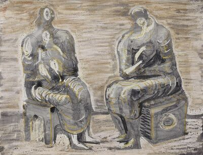 Henry Moore, 'Two Women and Children', 1945