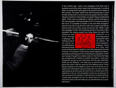 David Wojnarowicz, 'Between C&D', 1985