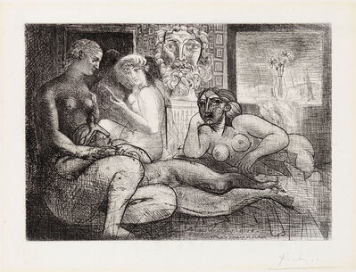 Pablo Picasso, 'Women Together with a Sculpted Voyeur (A Nod to Ingres' Turkish Bath)', 1934