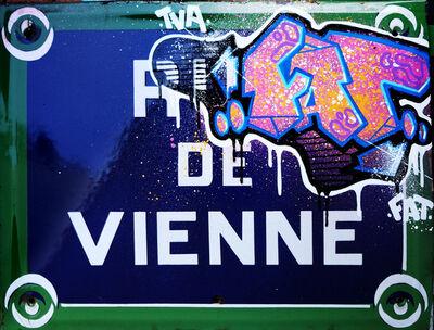 """FAT, 'Typical street plate of Paris """"rue de Vienne"""" - 8th district', 2019"""