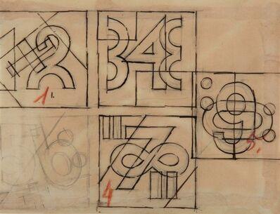 Fortunato Depero, 'Composizioni numeriche (studi per cuscini)', 1927