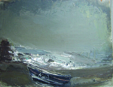 Joan Eardley, 'Grey Seascape with Black Boat, Catterline'