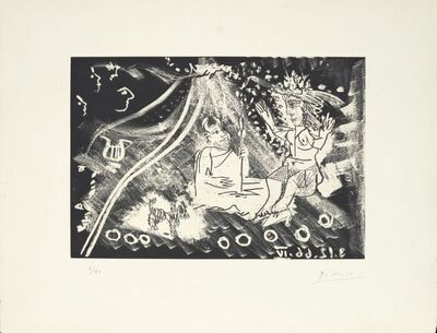 Pablo Picasso, 'Au théâtre : le cocu avec sa femme et un petit chien ', 1968