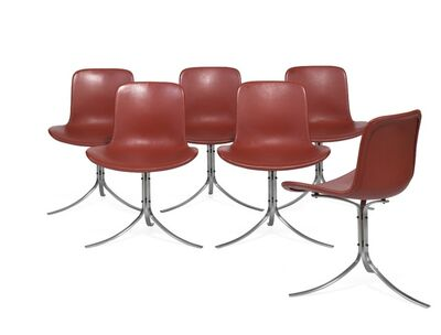 Poul Kjærholm, 'PK 9. A set of six chairs with chromed steel frame. Seat and back upholstered with red leather.'