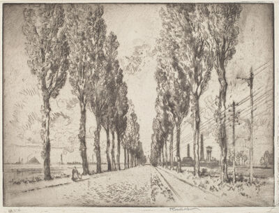 Joseph Pennell, 'The Avenue, Valenciennes', 1910