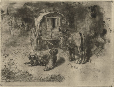 Félix Hilaire Buhot, 'Les Gardiens du Logis ou Les Amis Du Saltimbanque', 1876