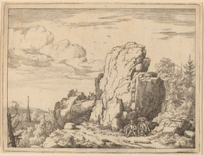 Allart van Everdingen, 'Two Men Seated at the Foot of a High Rock', probably c. 1645/1656